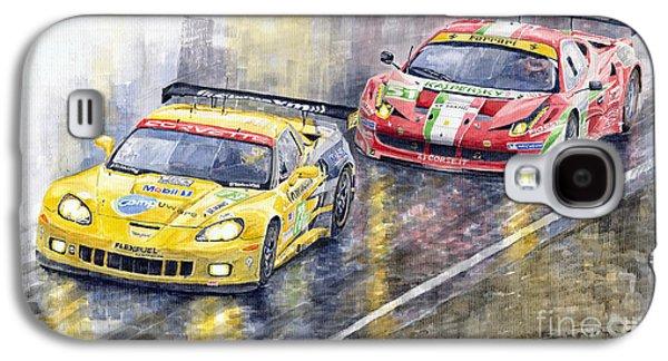 Le Mans 2011 Gte Pro Chevrolette Corvette C6r Vs Ferrari 458 Italia Galaxy S4 Case by Yuriy  Shevchuk
