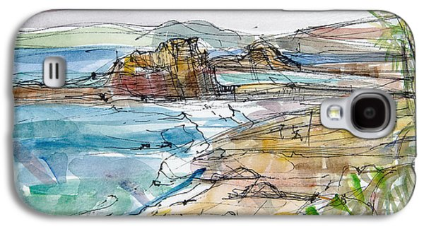Beach Landscape Galaxy S4 Cases - Le Renard Near Guimaec, Brittany Pen & Ink And Wc Paper Galaxy S4 Case by Erin Townsend