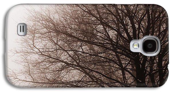 Snow Scene Landscape Galaxy S4 Cases - Leafless tree in fog Galaxy S4 Case by Elena Elisseeva