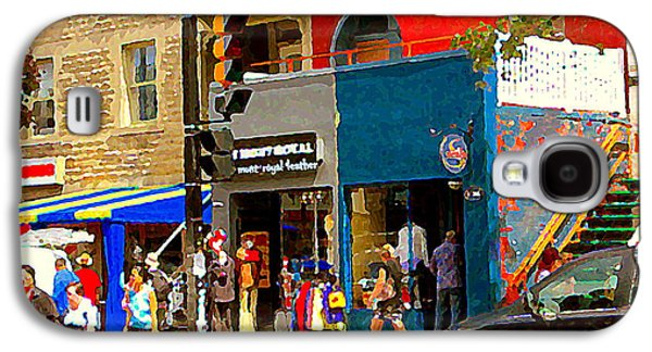 Store Fronts Paintings Galaxy S4 Cases - Leather Garments Cuir Monde Mont Royal Scala Pour Hommes Busy Montreal City Scene Carole Spandau  Galaxy S4 Case by Carole Spandau