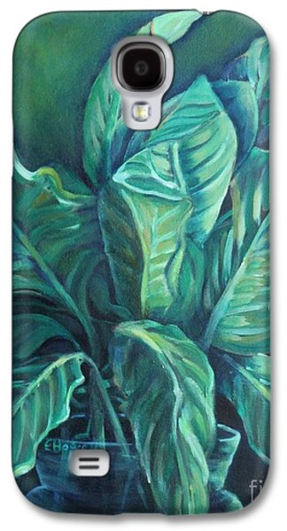 """""""indoor"""" Still Life Paintings Galaxy S4 Cases - Leaves in a Vase Galaxy S4 Case by Ellen Howell"""