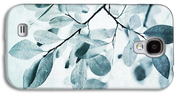 Aspen Galaxy S4 Cases - Leaves In Dusty Blue Galaxy S4 Case by Priska Wettstein