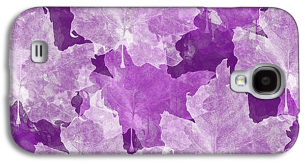Nature Abstract Galaxy S4 Cases - Leaves In Radiant Orchid Panorama Galaxy S4 Case by Andee Design