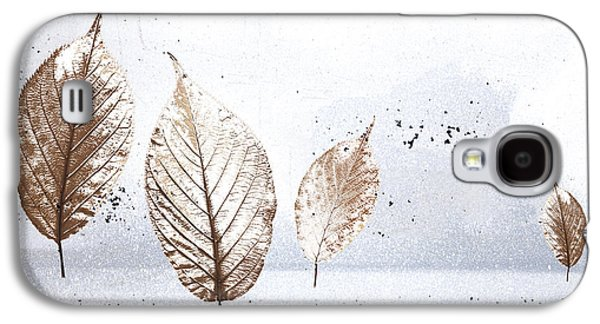 Snowy Digital Art Galaxy S4 Cases - Leaves in Snow Galaxy S4 Case by Carol Leigh