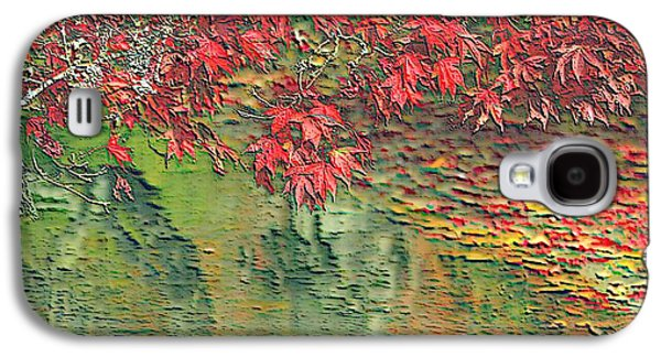 Phytoplankton Mixed Media Galaxy S4 Cases - Leaves On The Creek 3 with small border 3 Galaxy S4 Case by L Brown