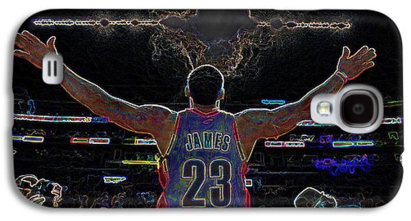 Nike Digital Art Galaxy S4 Cases - Lebron James Chalk Toss Basketball Art Landscape Painting Galaxy S4 Case by Andres Ramos