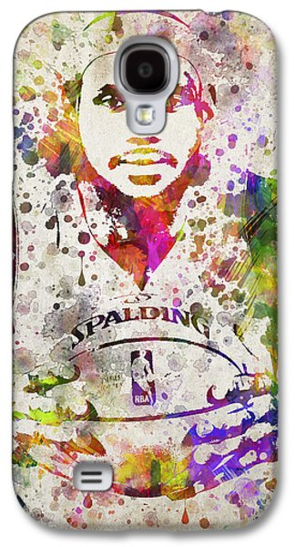 Dunk Galaxy S4 Cases - LeBron James in Color Galaxy S4 Case by Aged Pixel