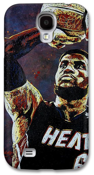 Nba Paintings Galaxy S4 Cases - LeBron James MVP Galaxy S4 Case by Maria Arango
