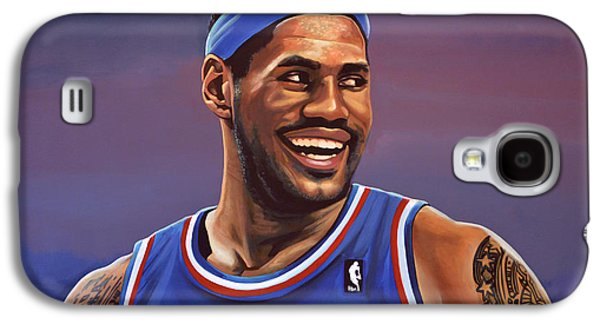 Nba Paintings Galaxy S4 Cases - LeBron James  Galaxy S4 Case by Paul  Meijering
