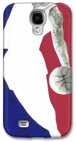 Lebron Paintings Galaxy S4 Cases - Lebron NBA Logo Galaxy S4 Case by Tamir Barkan