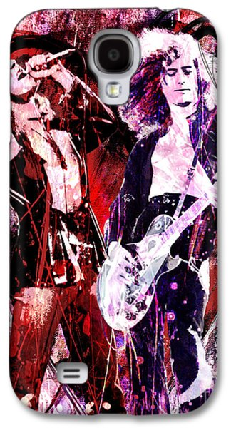 Rock N Roll Paintings Galaxy S4 Cases - Led Zeppelin - Jimmy Page and Robert Plant Galaxy S4 Case by Ryan RockChromatic