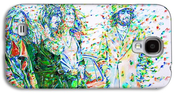 Led Zeppelin Paintings Galaxy S4 Cases - LED ZEPPELIN - watercolor portrait.2 Galaxy S4 Case by Fabrizio Cassetta