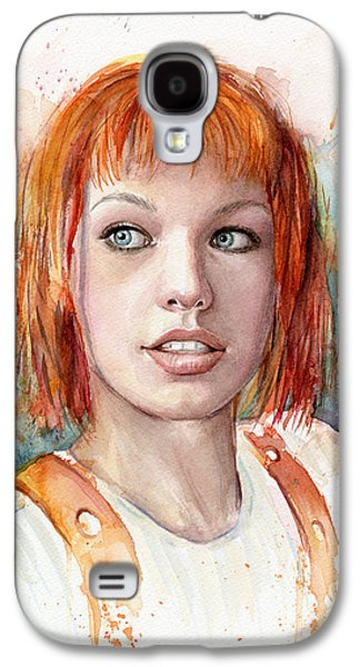 Science Fiction Paintings Galaxy S4 Cases - Leeloo Portrait MULTIPASS The Fifth Element Galaxy S4 Case by Olga Shvartsur