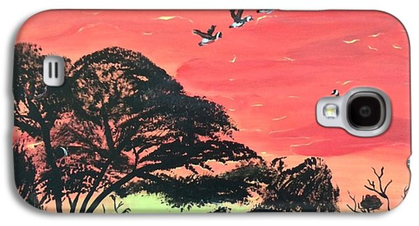Group Of Birds Paintings Galaxy S4 Cases - Left for Greener Pastures Galaxy S4 Case by Amanda Schroeder