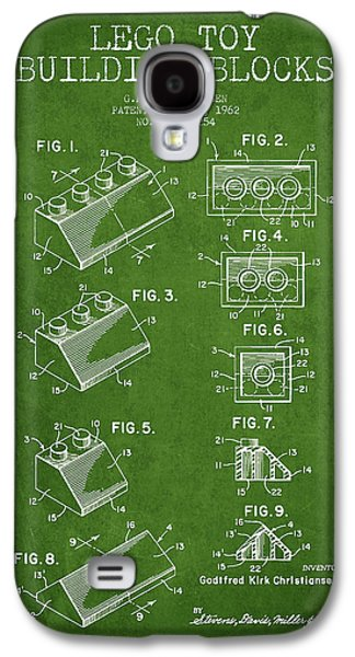 Lego Digital Art Galaxy S4 Cases - Lego Toy Building Blocks Patent - Green Galaxy S4 Case by Aged Pixel