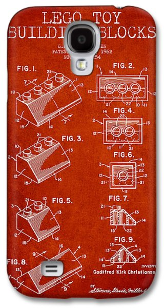 Lego Digital Art Galaxy S4 Cases - Lego Toy Building Blocks Patent - Red Galaxy S4 Case by Aged Pixel