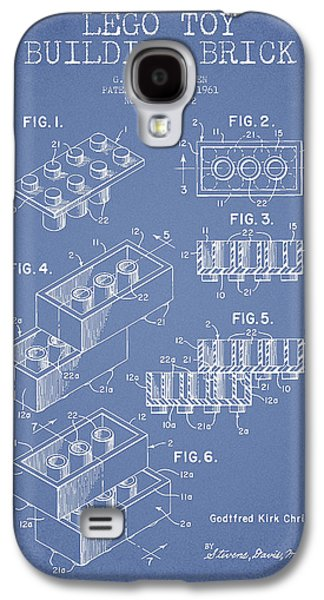 Lego Digital Art Galaxy S4 Cases - Lego Toy Building Brick Patent - Light Blue Galaxy S4 Case by Aged Pixel