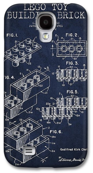 Lego Digital Art Galaxy S4 Cases - Lego Toy Building Brick Patent - Navy Blue Galaxy S4 Case by Aged Pixel