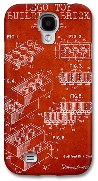Lego Digital Art Galaxy S4 Cases - Lego Toy Building Brick Patent - Red Galaxy S4 Case by Aged Pixel