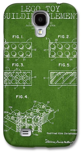 Lego Digital Art Galaxy S4 Cases - Lego Toy Building Element Patent - Green Galaxy S4 Case by Aged Pixel