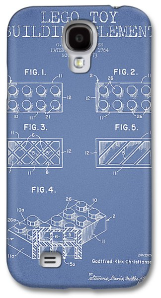 Lego Digital Art Galaxy S4 Cases - Lego Toy Building Element Patent - Light Blue Galaxy S4 Case by Aged Pixel