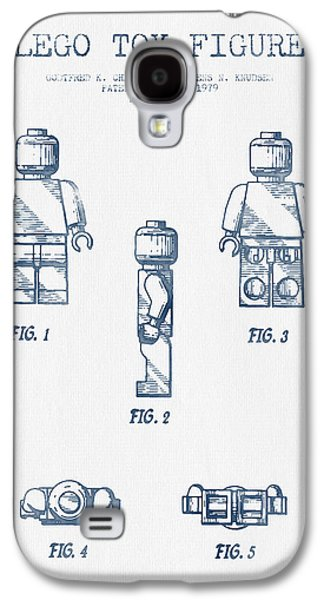 Lego Digital Art Galaxy S4 Cases - Lego Toy Figure Patent - Blue Ink Galaxy S4 Case by Aged Pixel