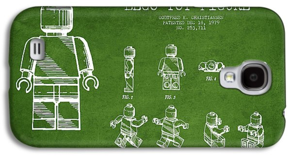 Lego Digital Art Galaxy S4 Cases - Lego toy Figure Patent Drawing from 1979 - Green Galaxy S4 Case by Aged Pixel