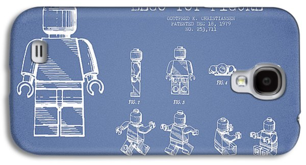 Lego Digital Art Galaxy S4 Cases - Lego toy Figure Patent Drawing from 1979 - Light Blue Galaxy S4 Case by Aged Pixel
