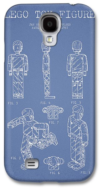Lego Digital Art Galaxy S4 Cases - Lego Toy Figure Patent - Light Blue Galaxy S4 Case by Aged Pixel