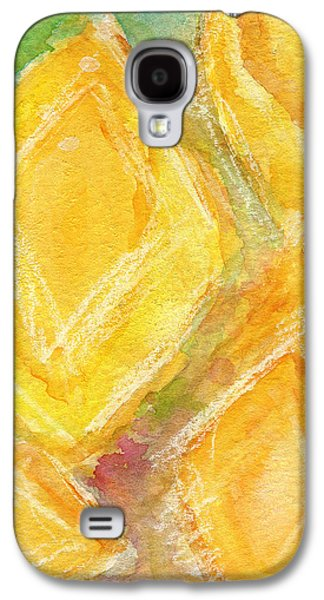 Contemporary Abstract Mixed Media Galaxy S4 Cases - Lemon Drops Galaxy S4 Case by Linda Woods