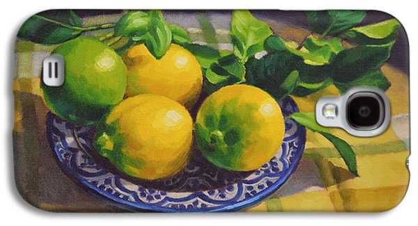 Pottery Paintings Galaxy S4 Cases - Lemons on Moroccan Plate Galaxy S4 Case by Fiona Craig