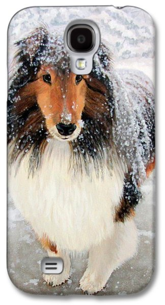 Dogs In Snow. Paintings Galaxy S4 Cases - Leo in the Snow Galaxy S4 Case by Sandra Chase