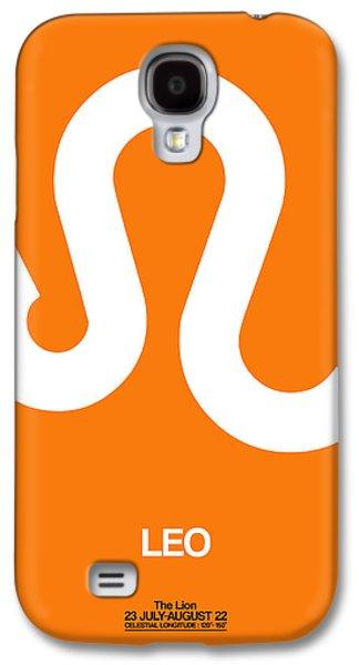 Leo Galaxy S4 Cases - Leo Zodiac Sign White on Orange Galaxy S4 Case by Naxart Studio