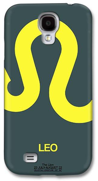 Leo Galaxy S4 Cases - Leo Zodiac Sign Yellow Galaxy S4 Case by Naxart Studio