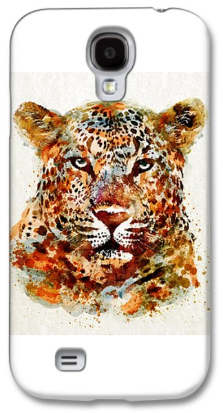 Leopard Head Watercolor Galaxy S4 Case by Marian Voicu