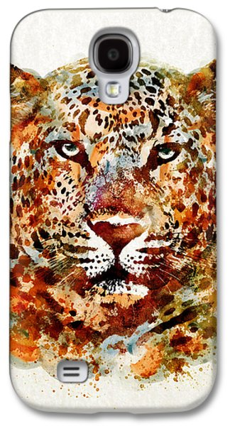 """""""square """" Mixed Media Galaxy S4 Cases - Leopard Head watercolor Galaxy S4 Case by Marian Voicu"""
