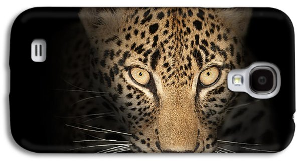 Close Photographs Galaxy S4 Cases - Leopard In The Dark Galaxy S4 Case by Johan Swanepoel