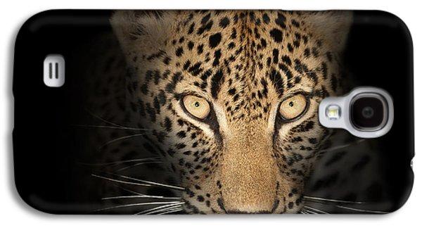 Leopard In The Dark Galaxy S4 Case by Johan Swanepoel