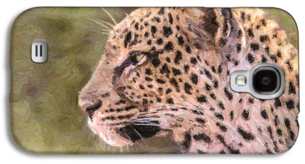 Leopard Portrait Galaxy S4 Case by Liz Leyden