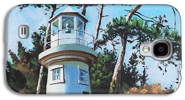New England Lighthouse Paintings Galaxy S4 Cases - Lepe Lighthouse Hampshire Galaxy S4 Case by Martin Davey