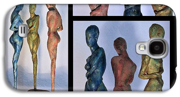 Print Sculptures Galaxy S4 Cases - Les filles de lAsse 1 Triptic collage Galaxy S4 Case by Flow Fitzgerald