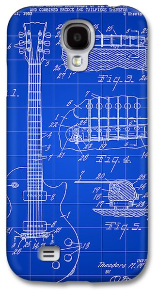 Parchment Galaxy S4 Cases - Les Paul Guitar Patent 1953 - Blue Galaxy S4 Case by Stephen Younts