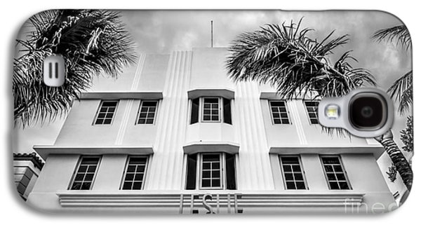Leslie Hotel South Beach Miami Art Deco Detail - Black And White Galaxy S4 Case by Ian Monk