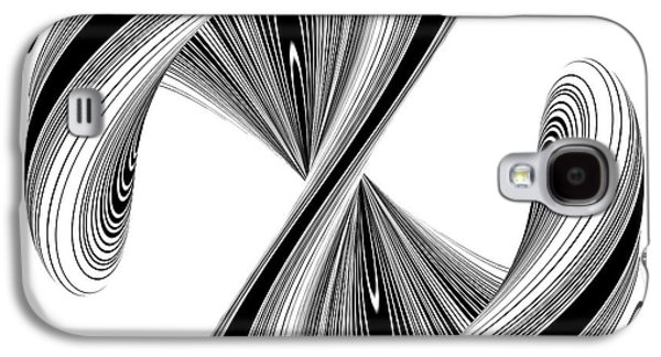 Modern Abstract Sculptures Galaxy S4 Cases - Letter S In Geometric Twisted Wave Blac And White Shape Galaxy S4 Case by Nenad  Cerovic