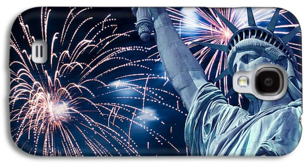 4th July Galaxy S4 Cases - Liberty fireworks Galaxy S4 Case by Delphimages Photo Creations