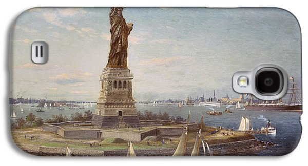 Liberty Paintings Galaxy S4 Cases - Liberty Island New York Harbor Galaxy S4 Case by Fred Pansing