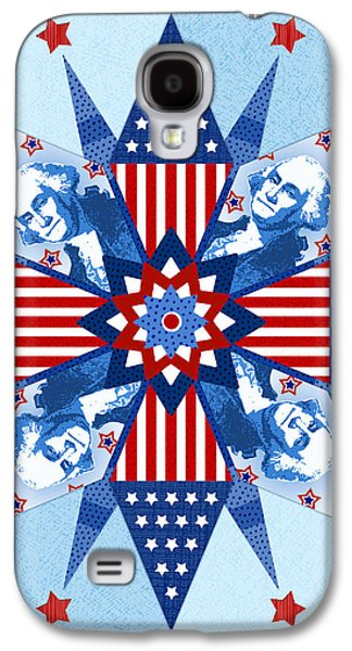4th July Mixed Media Galaxy S4 Cases - Liberty Quilt Galaxy S4 Case by Valerie   Drake Lesiak