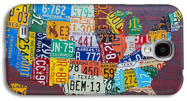 Carolina Galaxy S4 Cases - License Plate Map of The United States Galaxy S4 Case by Design Turnpike