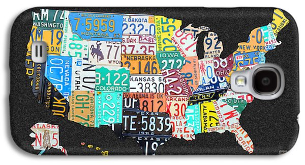 Maine Roads Galaxy S4 Cases - License Plate Map of the United States on Gray Felt with Black Box Frame Edition 14 Galaxy S4 Case by Design Turnpike