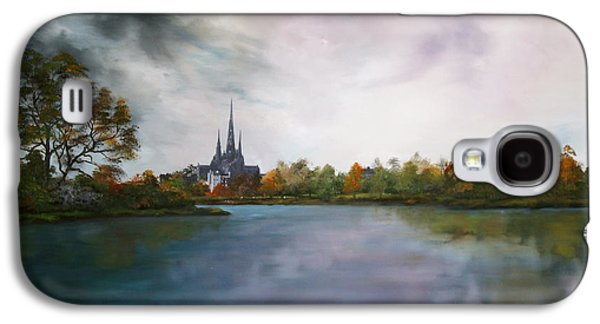 Bob Ross Paintings Galaxy S4 Cases - Lichfield Catherdral a view from Stowe Pool Galaxy S4 Case by Jean Walker